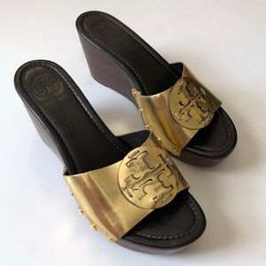Tory Burch Gold Metallic Patti Platform Wedges